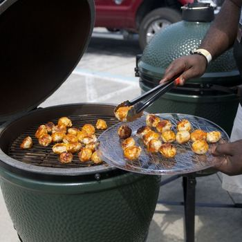 Putting the Big Green Egg to good use with some chicken meatballs