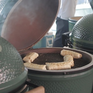 The Big Green Egg handles sausage with ease