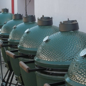 An array of Big Green Eggs ready to go