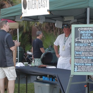 Overeasy serving up food to attendees